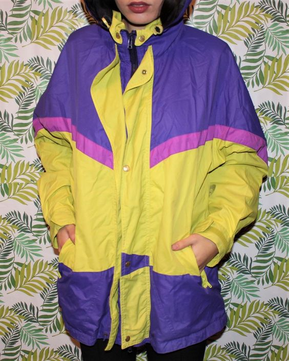 vintage windbreakers   SYMPATEX jacket 80s retro yellow purple mid-length   Girlfriend is Better