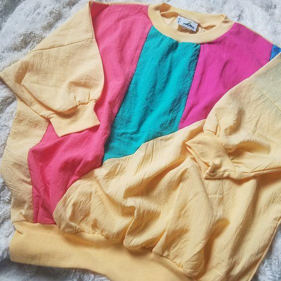 vintage windbreakers | yellow pink teal pastels 80s half sleeve shirt | Girlfriend is Better