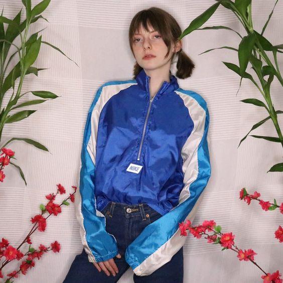 vintage windbreakers | 80s Nike half-zip blue cinched sleeves jacket | Girlfriend is Better