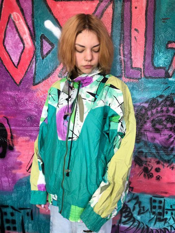 vintage windbreakers | full zip 80s multicolored rave jacket green | Girlfriend is Better