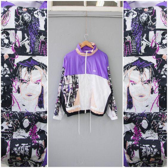 vintage windbreakers | 80s 90s color block Etrirel purple new wave full zip | Girlfriend is Better