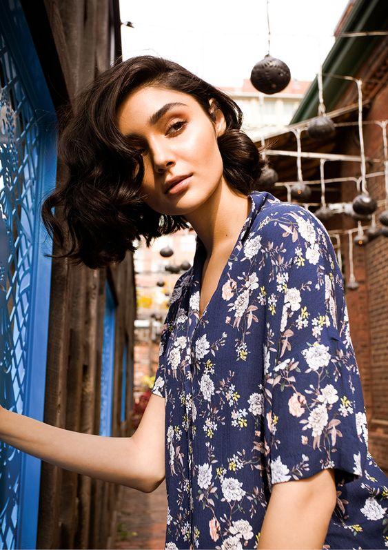 hawaiian shirts | Lightweight Thin Blue floral Blouse | Girlfriend is Better