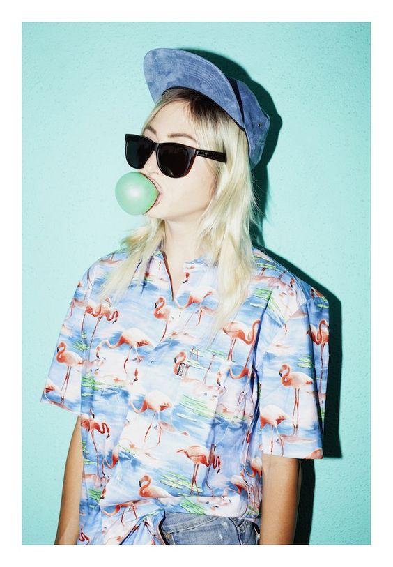 hawaiian shirts | flamingo print blouse raver 80s blue | Girlfriend is Better