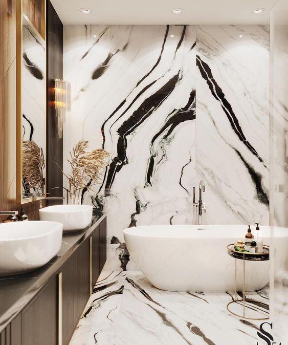 panda marble | contemporary bathroom bathtub black white | Girlfriend is Better