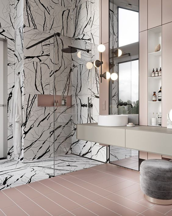 panda marble | pink contemporary bathroom tile shower black white French art deco | Girlfriend is Better