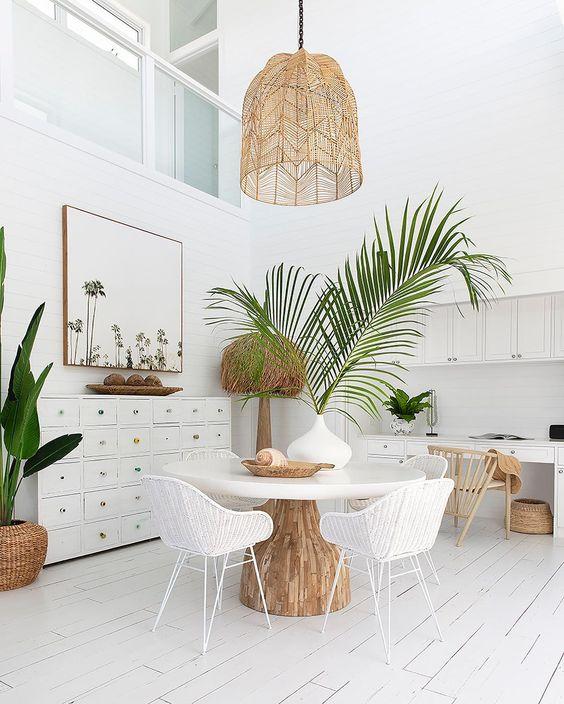 midsummer hygge   white dining room natural decor rattan hanging light beach house   Girlfriend is Better