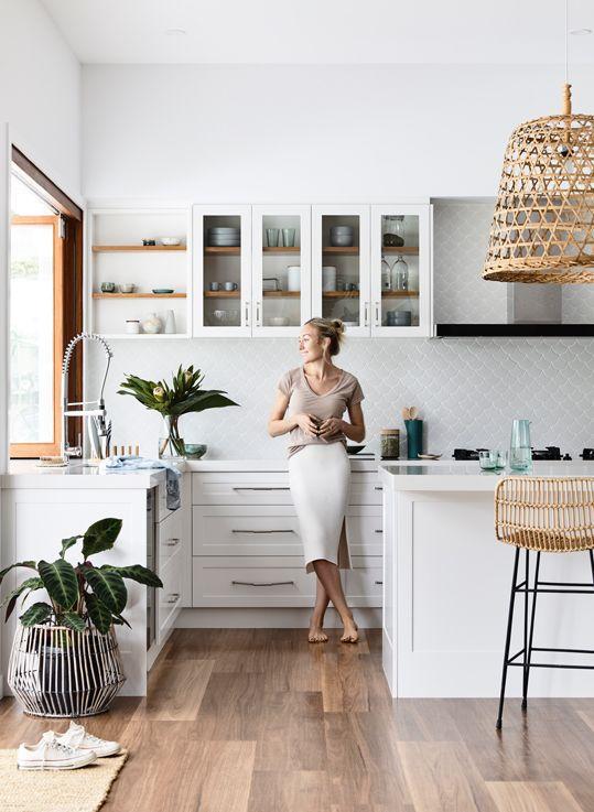 midsummer hygge   white kitchen open shelving rattan hanging light entertaining hostess   Girlfriend is Better