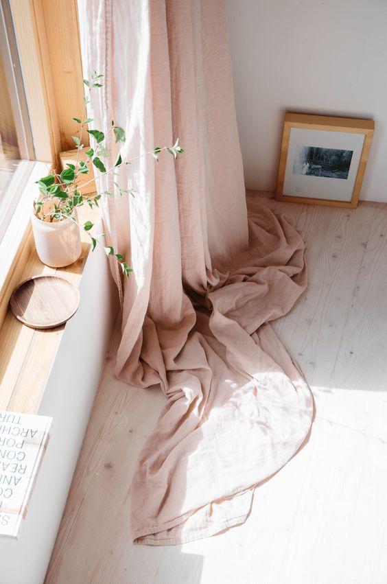 midsummer hygge   pink curtain plant windowsill natural decor bedroom   Girlfriend is Better