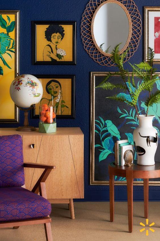 Southern Bohemian   purple armchair gallery wall   Girlfriend is Better