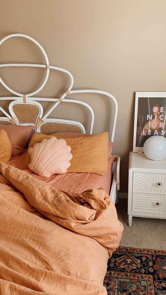Southern Bohemian   bedroom linen bedding rattan bed frame orange   Girlfriend is Better