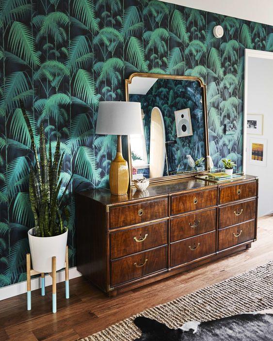 Southern Bohemian   banana leaf wallpaper dresser surf shack   Girlfriend is Better
