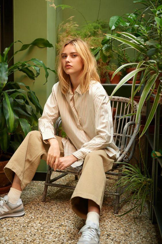straight leg pants   neutrals button up blouse work wear   Girlfriend is Better