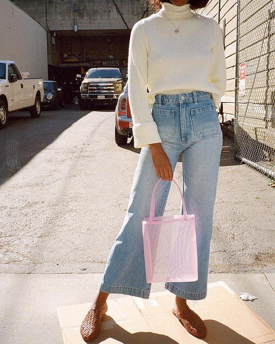 straight leg pants | turtleneck sweater high-waist high-rise leather sandals see through purse | Girlfriend is Better