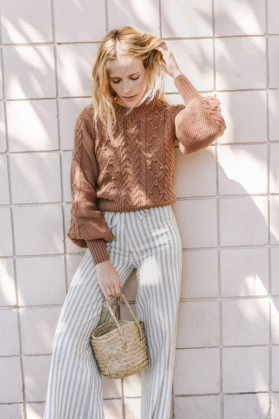 straight leg pants | stripes tip handle purse straw bag bishop sleeves sweater fall fashion linen | Girlfriend is Better