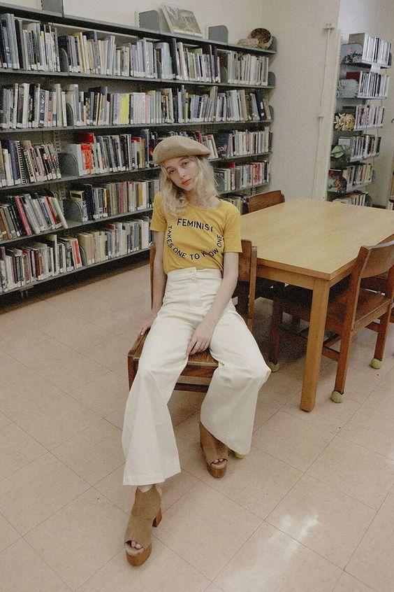 straight leg pants | white high-waist vintage tee feminism beret neutrals | Girlfriend is Better