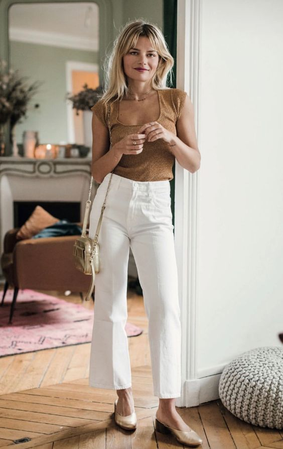 straight leg pants | high-waist high-rise cropped white jeans | Girlfriend is  Better