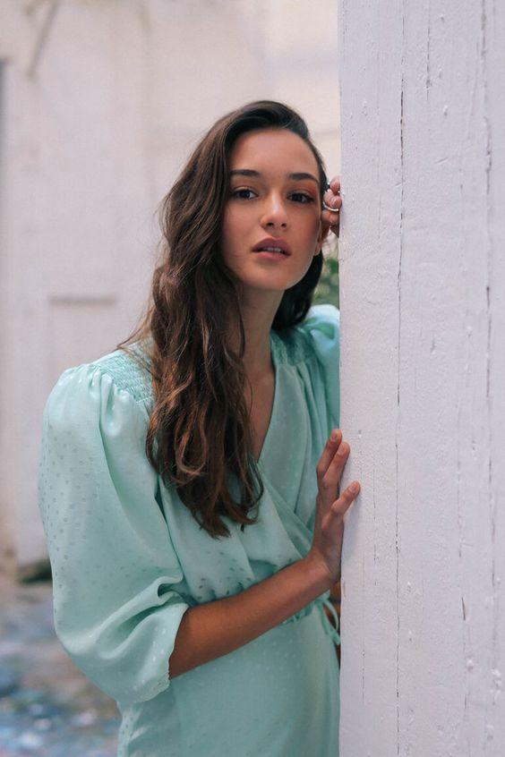 summer dresses | teal green puff shoulders satin vintage | Girlfriend is Better