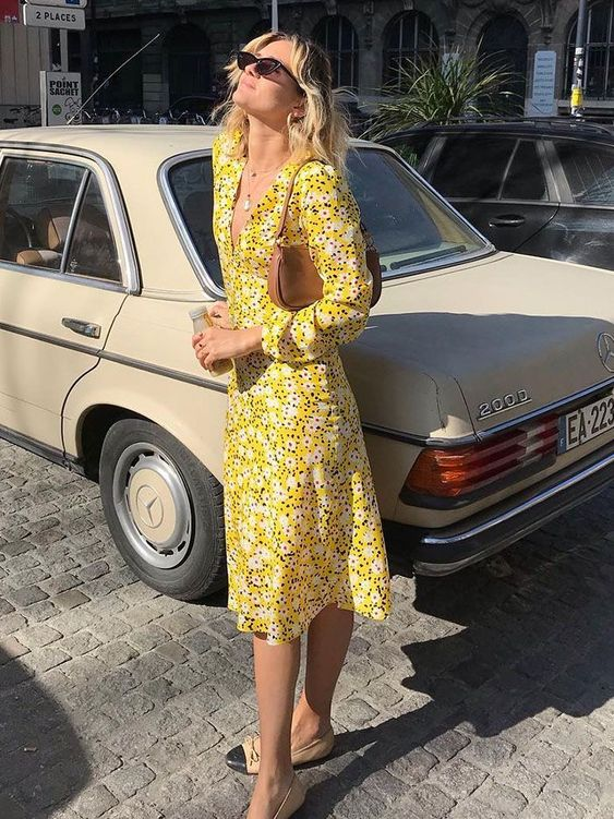 summer dresses | yellow floral print travel outfit | Girlfriend is Better