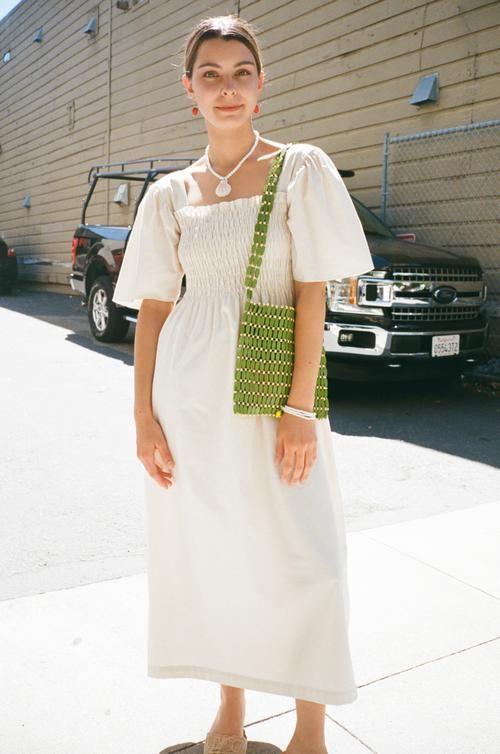 summer dresses | all white linen cotton mid-length | Girlfriend is Better