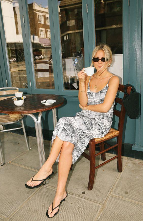 summer dresses | Halsten midi length scoop neckline spaghetti straps sandals | Girlfriend is Better