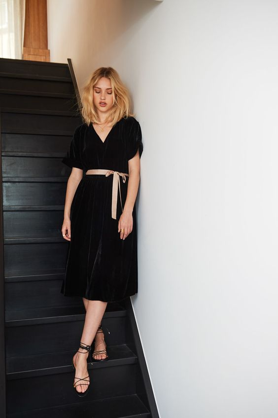 summer sandals   black dress with peach bow down stairs   Girlfriend is Better