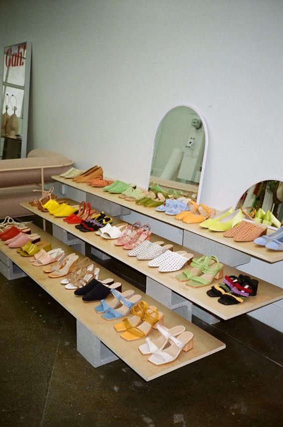 summer sandals   light wood shoe display   Girlfriend is Better