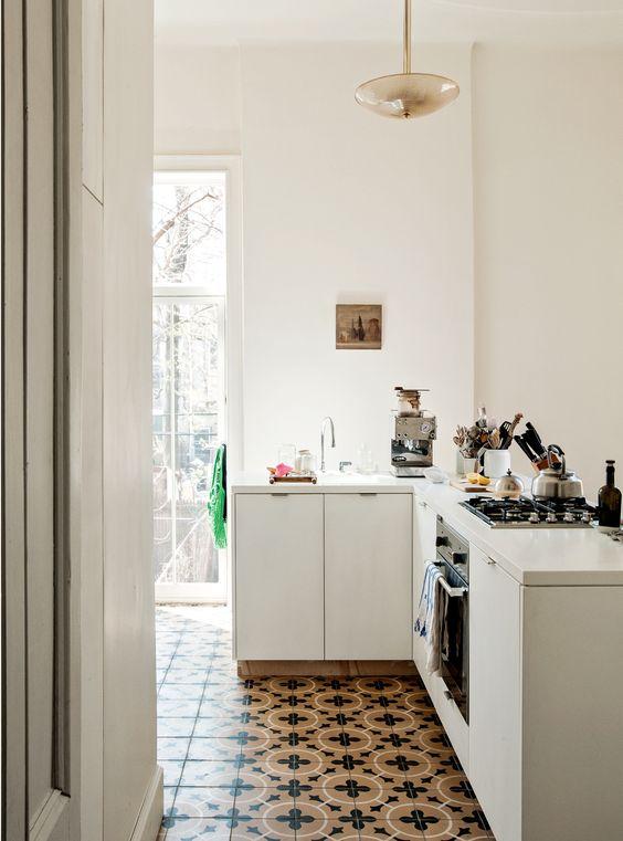 white interiors | graphic tile kitchen vintage | Girlfriend is Better