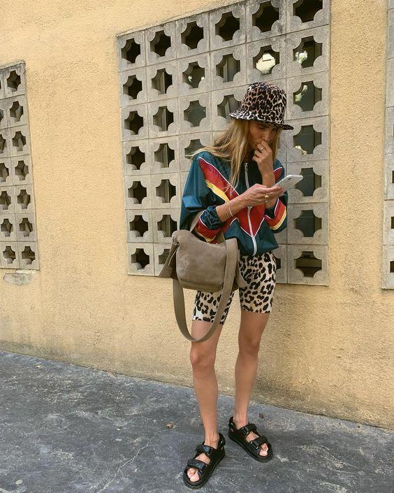 bike shorts | cheetah print mixed windbreaker tourist bucket hat | Girlfriend is Better