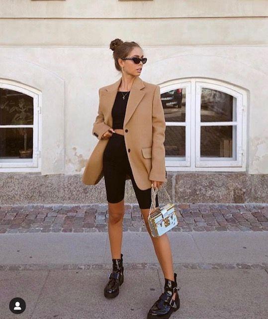 bike shorts | oversized blazer wool camel tiny sunglasses work wear | Girlfriend is Better