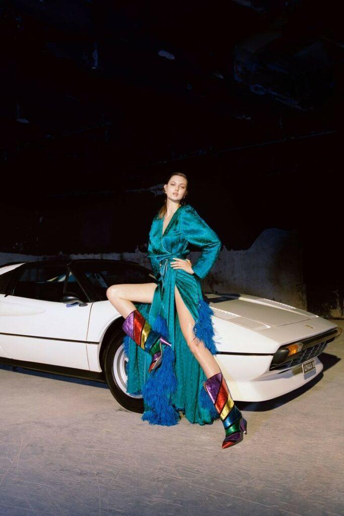 80s street chic | real satin dress jewel tones rainbow boots | Girlfriend is Better