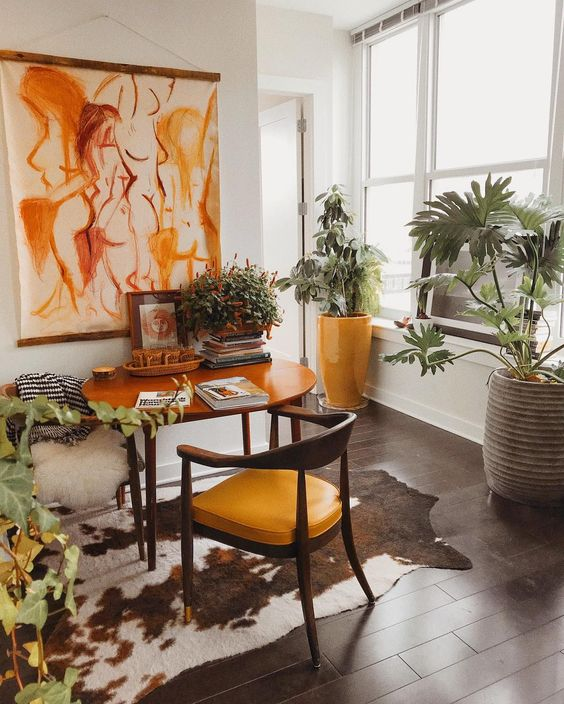 horseshoe chairs | yellow seat abstract art home office Bohemian wood joinery | Girlfriend is Better