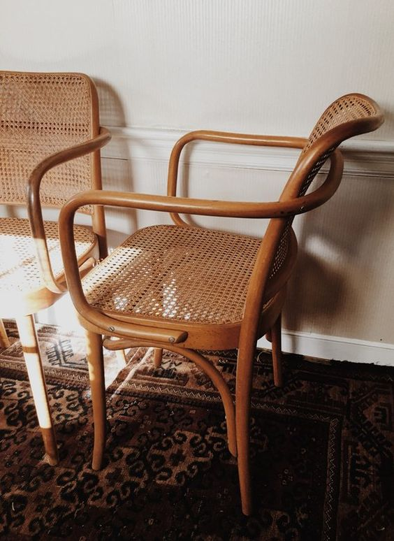 horseshoe chairs | caned seating curved armrest natural wood vintage | Girlfriend is Better