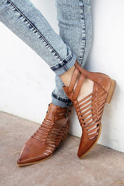 leather flats | tan ankle bootie weave cinnamon pointed toe | Girlfriend is Better