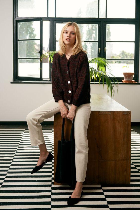 leather flats | ballerina pointed toe work wear cardigan | Girlfriend is Better