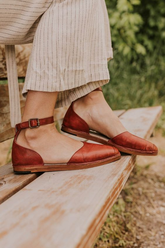 leather flats | Cinnamon neutral ankle strap casual linen | Girlfriend is Better