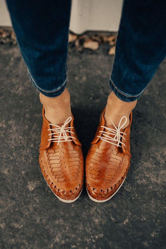 leather flats | woven Oxford shoe lace cinnamon neutrals | Girlfriend is Better