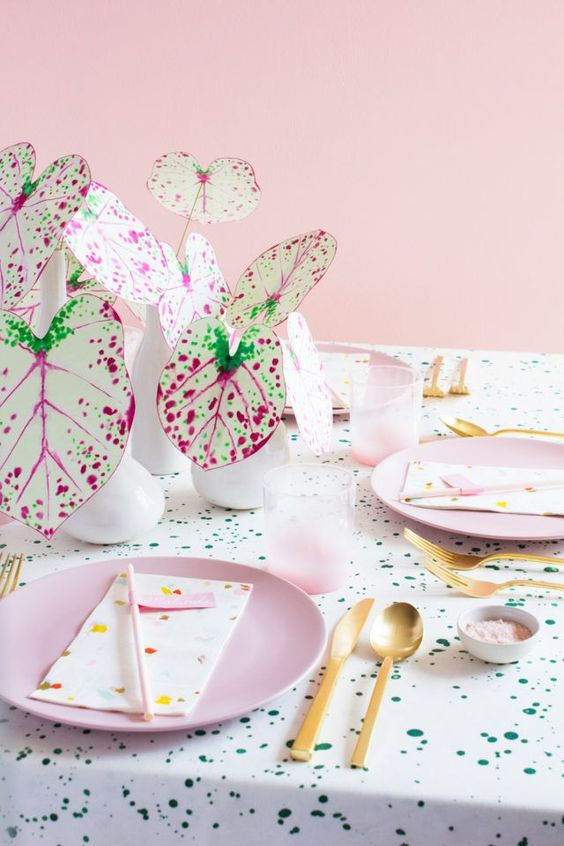 pink plants   paper Caladium tablescape diy gold   Girlfriend is Better