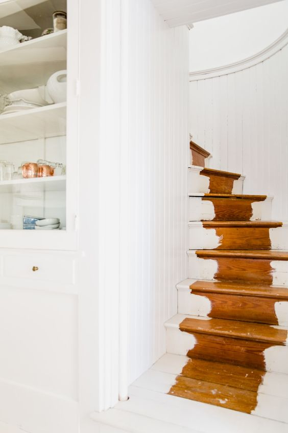 white interiors   distressed staircase paint open shelving   Girlfriend is Better