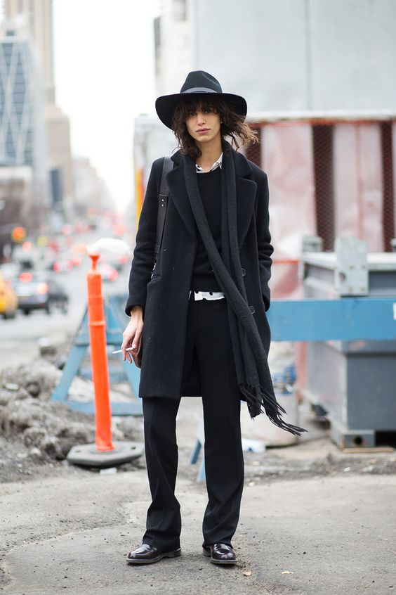 business casual   black wool mid-length coat felt wide brimmed hat long neck scarf   Girlfriend is Better