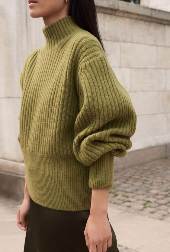 business casual   green balloon sleeves thick turtleneck wool sweater   Girlfriend is Better
