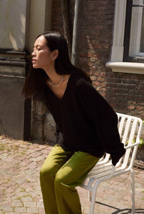 business casual   black v-neck sweater green slacks work wear   Girlfriend is Better