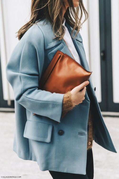 business casual   blue double-breasted blazer leather clutch oversized   Girlfriend is Better