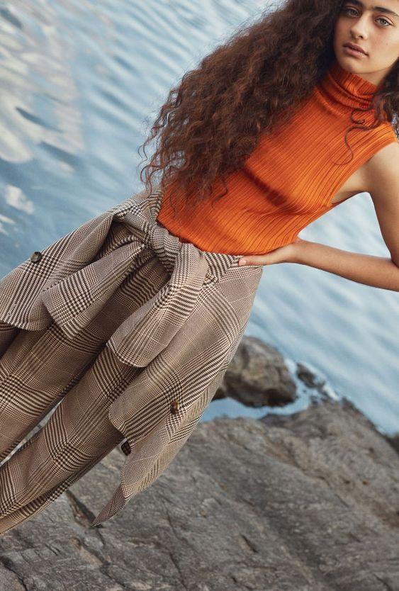 business casual   orange sleeveless turtleneck plaid pant suit work wear   Girlfriend is Better