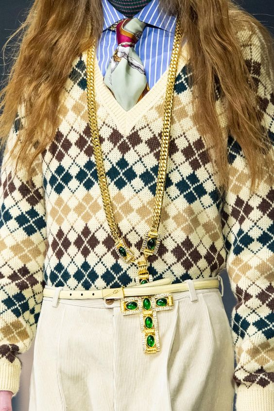 Preppy outfits | button up tie gold chain thin white belt corduroy pants | Girlfriend is Better