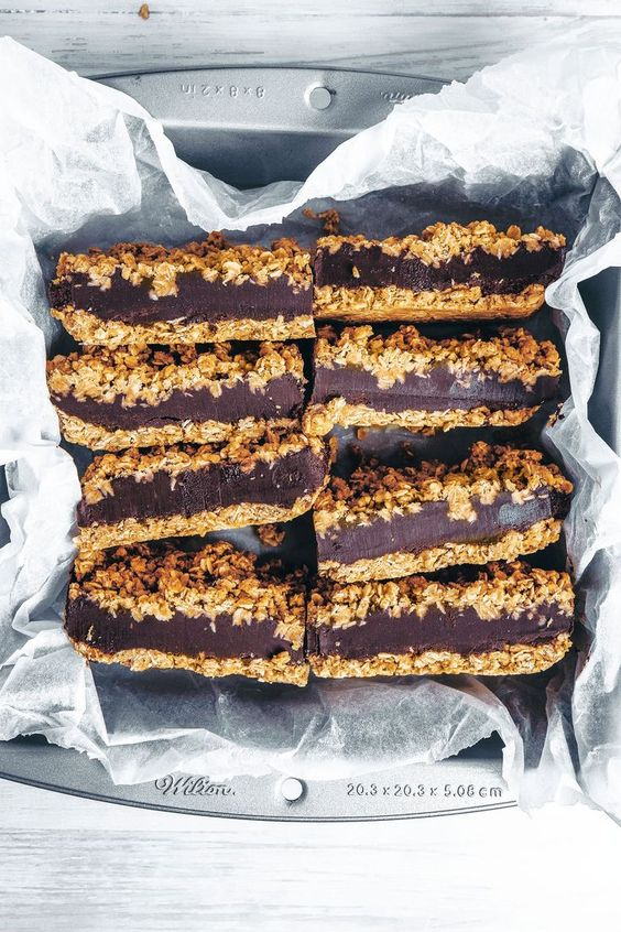 oats recipes | Chocolate Tahini Oat Bars healthy no-bake cookies | Girlfriend is Better