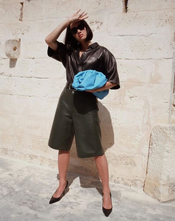 oversized clutches   work wear culottes leather blue   Girlfriend is Better