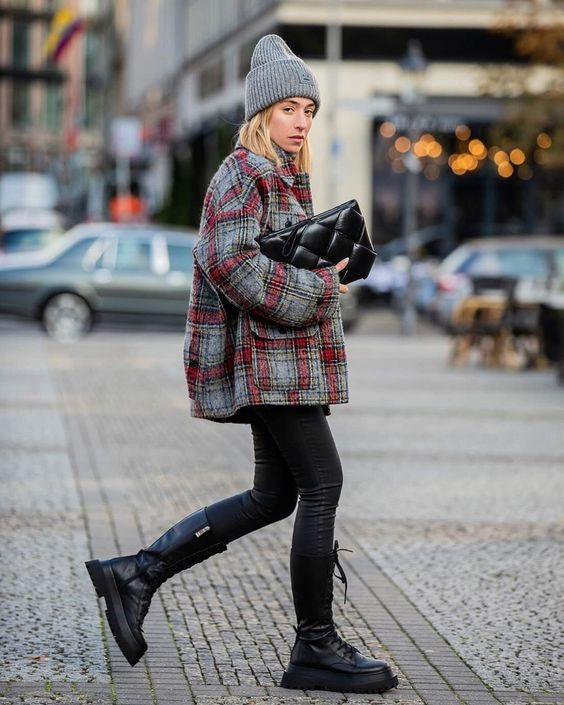 oversized clutches   quilted black leather structured winter layers plaid wool coat   Girlfriend is Better