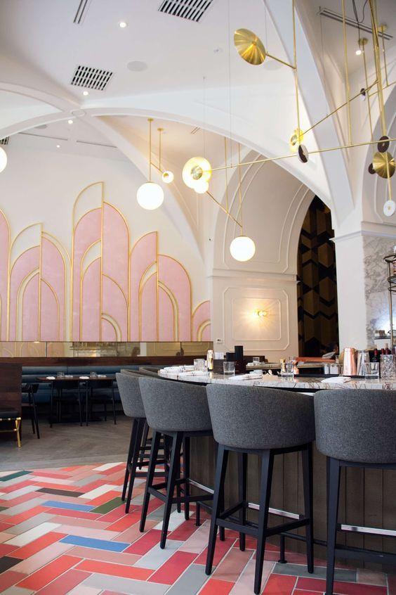 Parisian art deco   modern ceiling chandelier curved barter herringbone graphic tile pink   Girlfriend is Better
