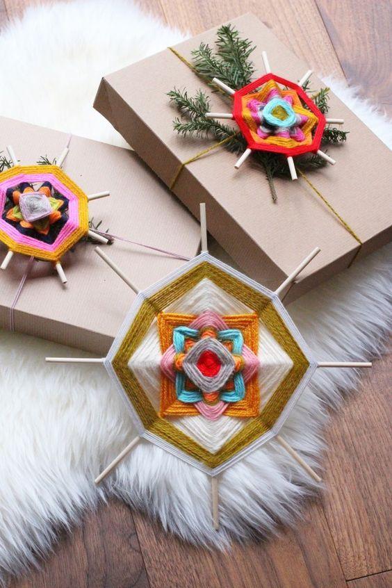 handmade Christmas   yarn craft Gods eye present topper gift wrap easy DIY   Girlfriend is Better
