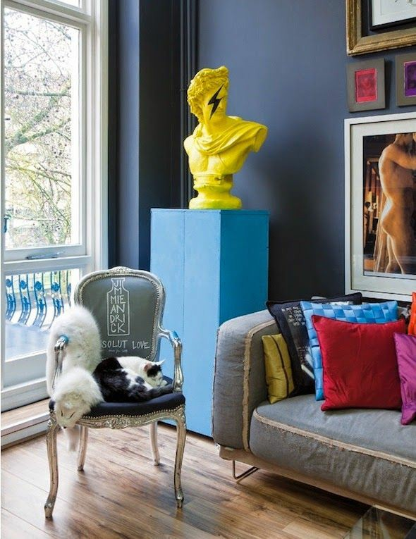 bust statues | yellow painted Bohemian eclectic upcycled furniture | Girlfriend is Better